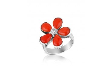 Diamond and Red Coral Flower 18K Gold Ring