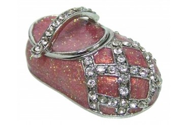 Pewter Pink Baby Shoe Jeweled Enameled Hinged Trinket Box