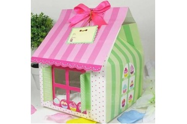 Cute House Shaped Cuboid Cupcake Boxes With Ribbons (Set of 12) (050024715)
