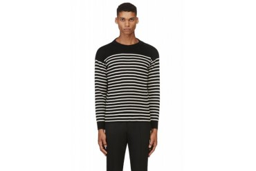 Saint Laurent Black And White Striped Buttoned shoulder Sweater