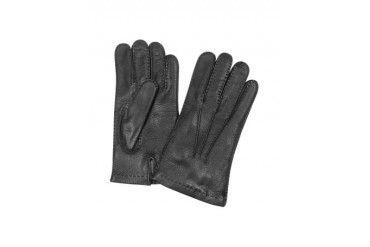 Men's Cashmere Lined Black Italian Deer Leather Gloves