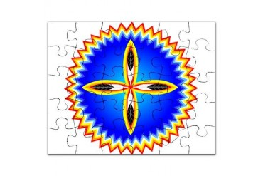 EAGLE FEATHER CROSS MEDALLION Native american Puzzle by CafePress