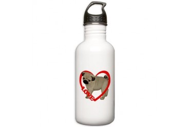 Pug Puppy Love Heart Dog Stainless Water Bottle 1.0L by CafePress