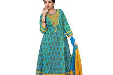 Turquoise Printed Cotton Kalidar Suit