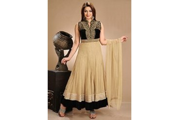 Beige net ankle length anarkali suit