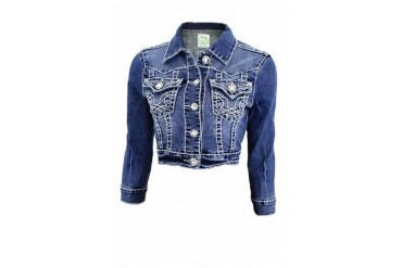 Heavy stitch light wash denim jacket