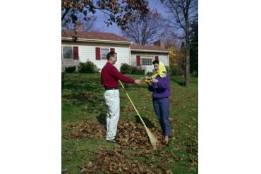Couple raking leaves in backyard Poster Print (24 x 36)