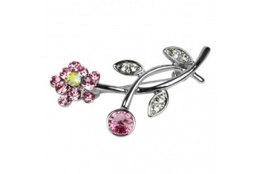 Elegant amp Sparkly Pink Flower Brooch Pin with Rhinestones