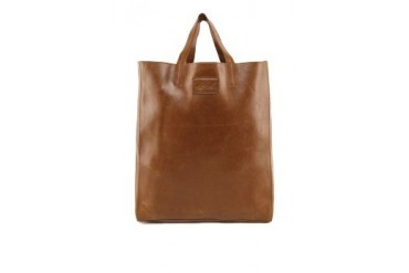 Faux Glazed Leather Tote with Pouch