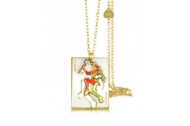 Joker w/Card Charm Necklace