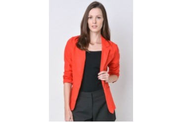 One Button Blazer With Sleeve Ruching