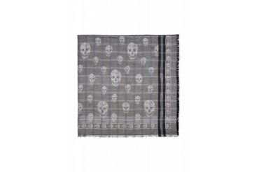Alexander Mcqueen Grey Woven Skull And Check Shawl