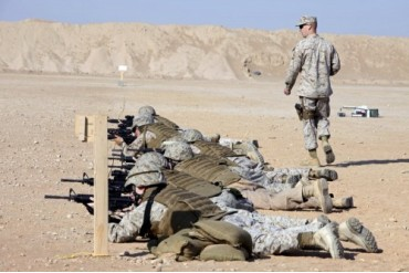 U.S. Marines conduct a battlefield zero at Camp Leatherneck.