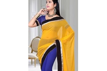 Charismatic Yellow And Blue Saree