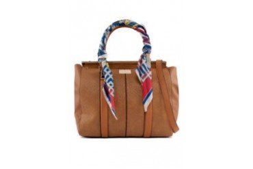 RIVER ISLAND Tan Scarf Handle Woven Tote Bag