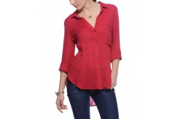 Cloth & Stone Rayon Long Sleeve Button Down Shirt Red, S
