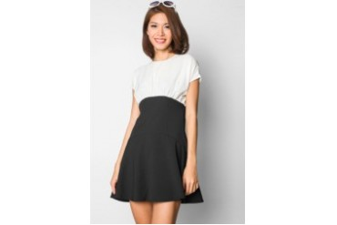 EZRA by ZALORA High-Waisted Ruffle Hem Dress