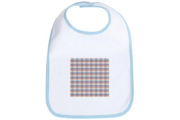 Red Blue Orange Plaid Print Vintage Bib by CafePress