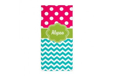 Pink Green Teal Chevron Personalized Beach Towel