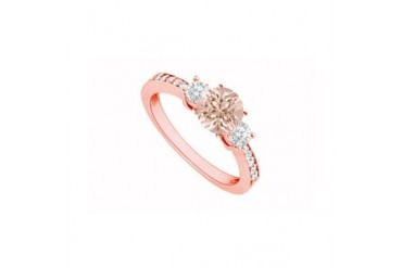 d Cubic Zirconia Three Stone 14K Rose Gold Engagement Ring with CZ Accents