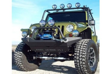 Body Armor 4x4 JK Wrangler Front Winch Bumper with Grill Guard in Textured Powder Coat JK-19531 Front Bumpers