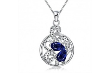 Mock Sapphire Spiral Floral Drop Necklace