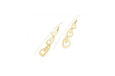 Golden Silver Etched Triple Heart Drop Earrings