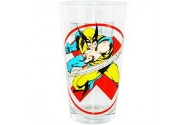Marvel Comics X-Men Wolverine Red X Behind Toon Tumbler Pint Glass