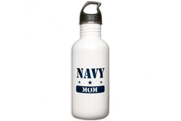 Navy Mom Navy Stainless Water Bottle 1.0L by CafePress