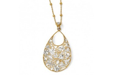 Floral Teardrop Adjustable Necklace in 18K Gold Plated Sterling Silver