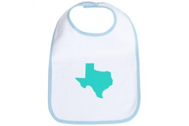 Texas Outline Turquoise Texas Bib by CafePress