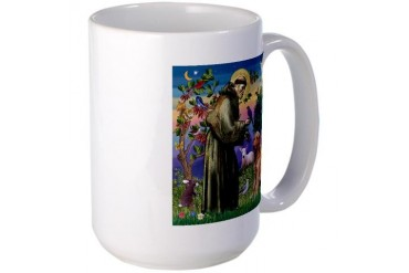 St. Francis Goldens Dogs Large Mug by CafePress