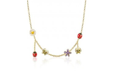 Garden Line - Enamel Gold Plated Charm Necklace
