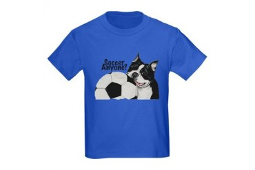 Soccer Anyone? Boston Terrier Kids Dark T-Shirt