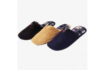 James Fiallo Men s Indoor Outdoor Suede Slipper with Plaid Insole