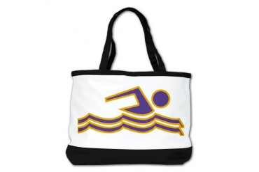Purple and Gold Swimming Sports Shoulder Bag by CafePress