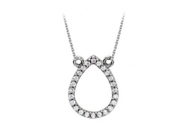 Diamond Drop Pendant in 14K White Gold with Economical Price Trendy Design