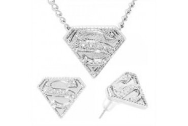 DC Comics Superman Embossed Logo Necklace Earrings Jewelry Set
