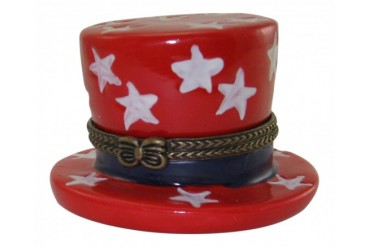 Uncle Sam Hat Patriotic Stars USA Porcelain Hinged Trinket Box
