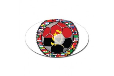 Angola Flag World Cup Football Soccer No Labels St Soccer Sticker Oval by CafePress