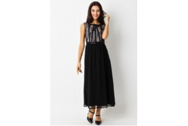 Voerin Chiara Black Long Dress