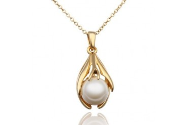Golden Pearl Fusion Necklace with Swarovski Elements by Rubique