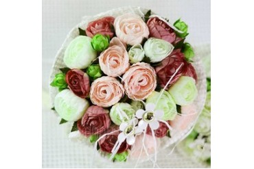 Colorful Round Satin Bridal Bouquets (124032053)