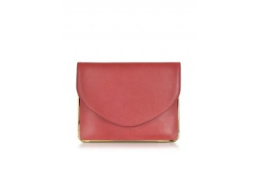 Saint Sulpice Leather Clutch w/Metal Detail