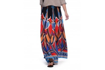 Flying Tomato Black Red and Blue Woven Printed Maxi Skirt Black Multi, L