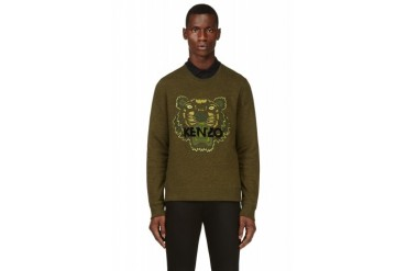Kenzo Green Embroidered Tiger Sweatshirt