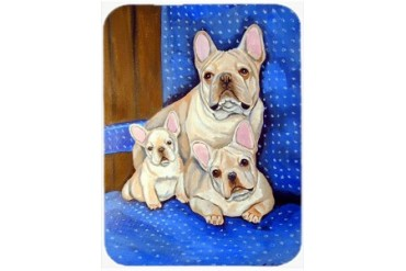 White Frenchies in Momma s Chair French Bulldog Glass Cutting Board Large