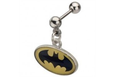 DC Comics Batman Oval Logo Dangle Stainless Steel Cartilage Earring