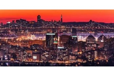 Oakland SF Twilight Poster Print by Greg Linhares (10 x 20)