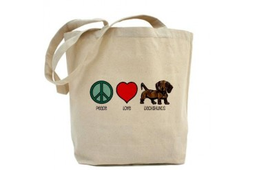 Peace Love Dachshunds Dachshund Tote Bag by CafePress